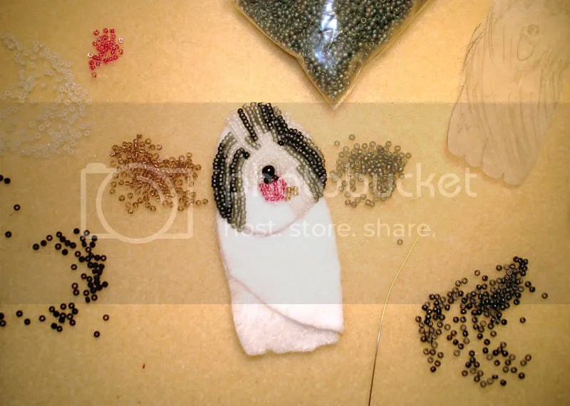 beaded Old English Sheepdog OES bead embroidery pet portrait dog pin brooch wearable art