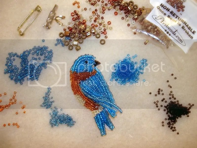 Beaded Eastern Bluebird bead embroidery bird fine art pin pendant beadwork beading blog etsy
