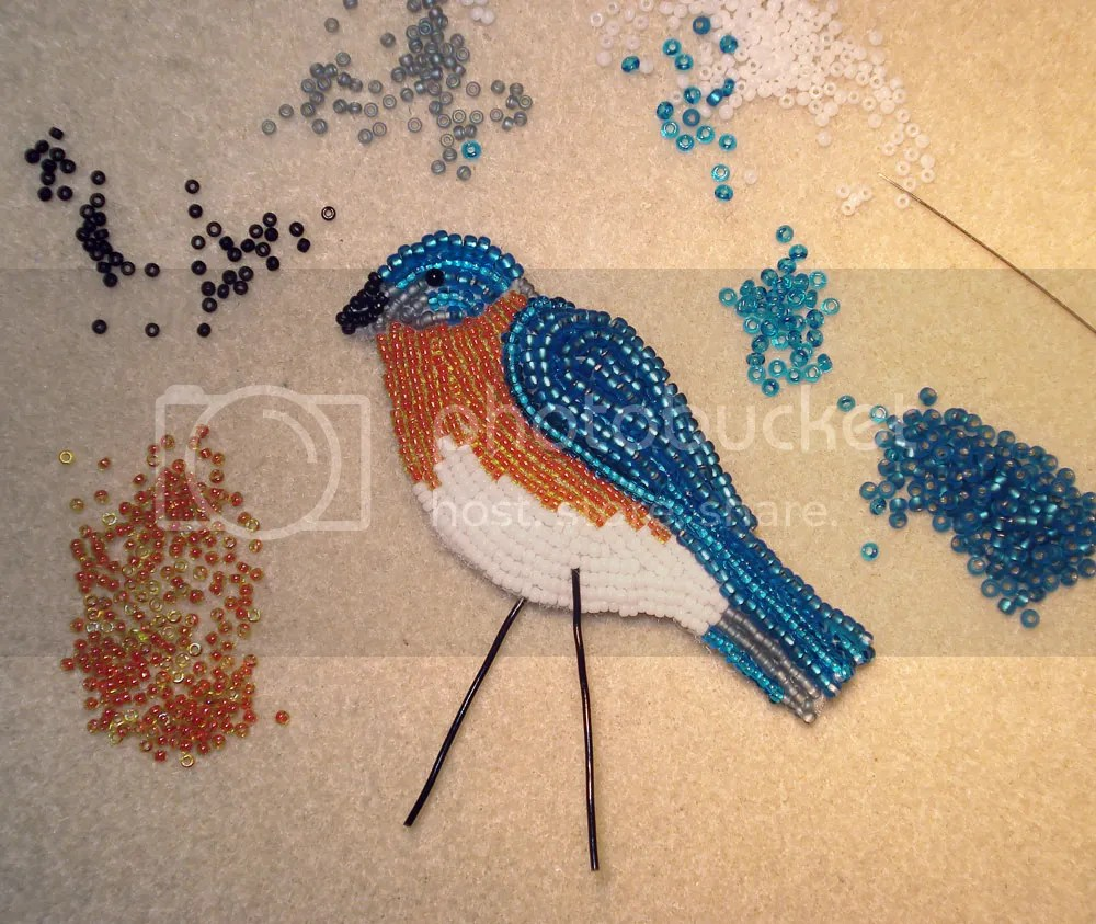 beaded Eastern Bluebird pin/pendant etsy custom beadwork bead embroidery seed beads beader's blog