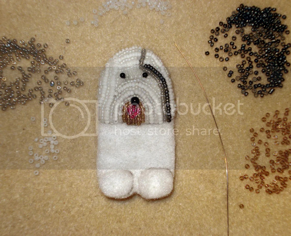beaded Eliza Old English sheepdog pin pendant commission beadwork for sale etsy the lone beader