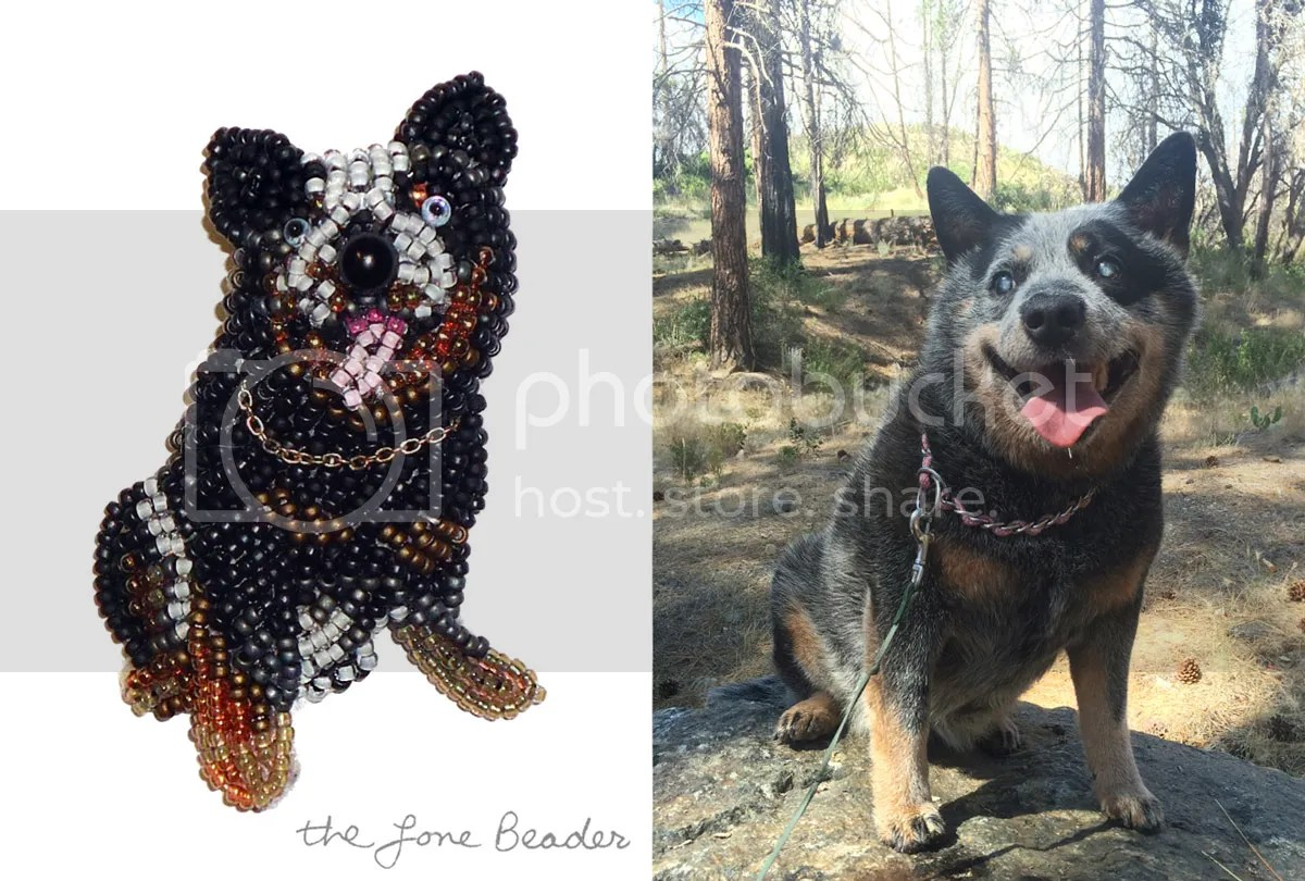 custom pet portrait beaded Australian Cattle Dog pin pendant jewelry etsy bead embroidery art
