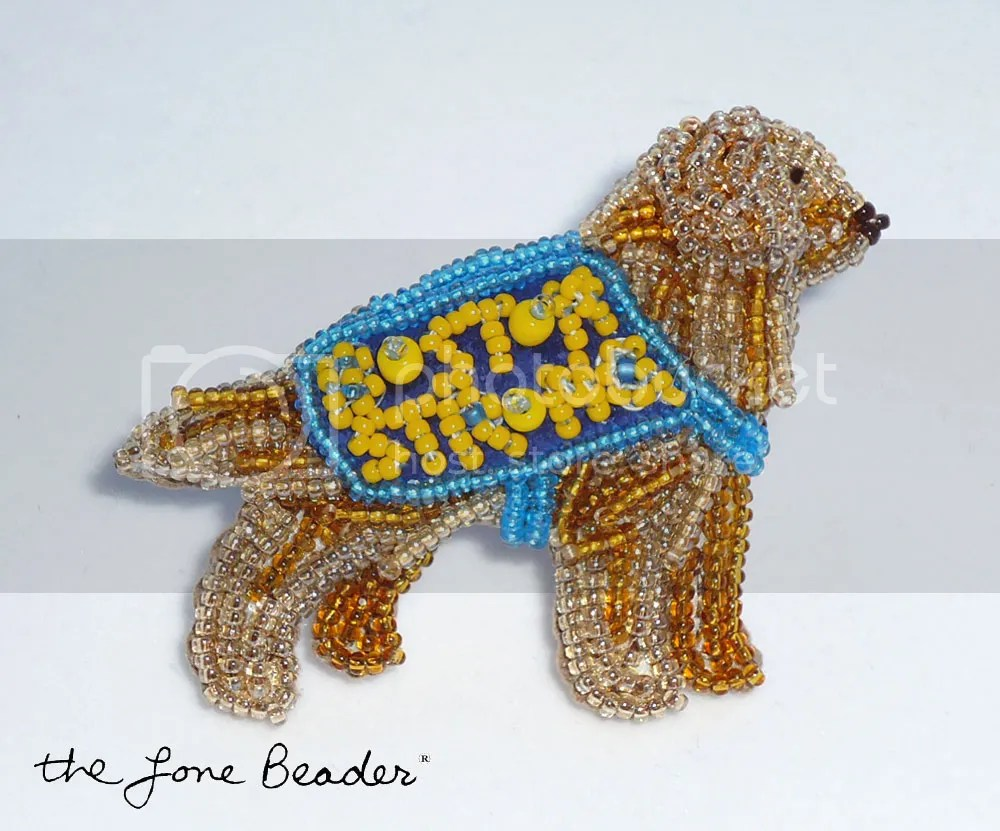 Beaded Boston Strong Golden Retriever Comfort Dog pin Marathon Bombings Charity eBay auction