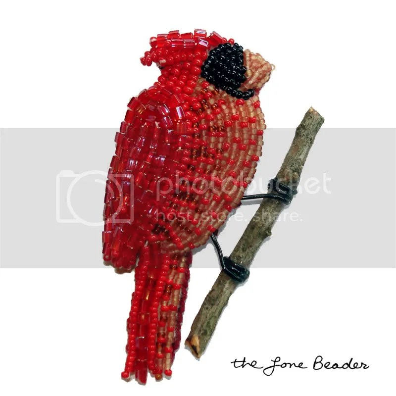 beaded northern cardinal red bird brooch pin pendant audubon society art beadwork bead embroidery etsy