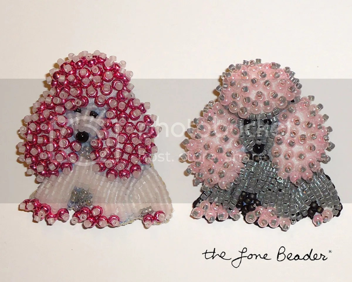 beaded pink miniature poodle pin pendants beadwork bead embroidery etsy