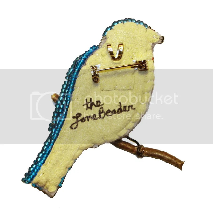beaded Eastern Bluebird pin/pendant etsy custom beadwork bead embroidery seed beads beader's blog