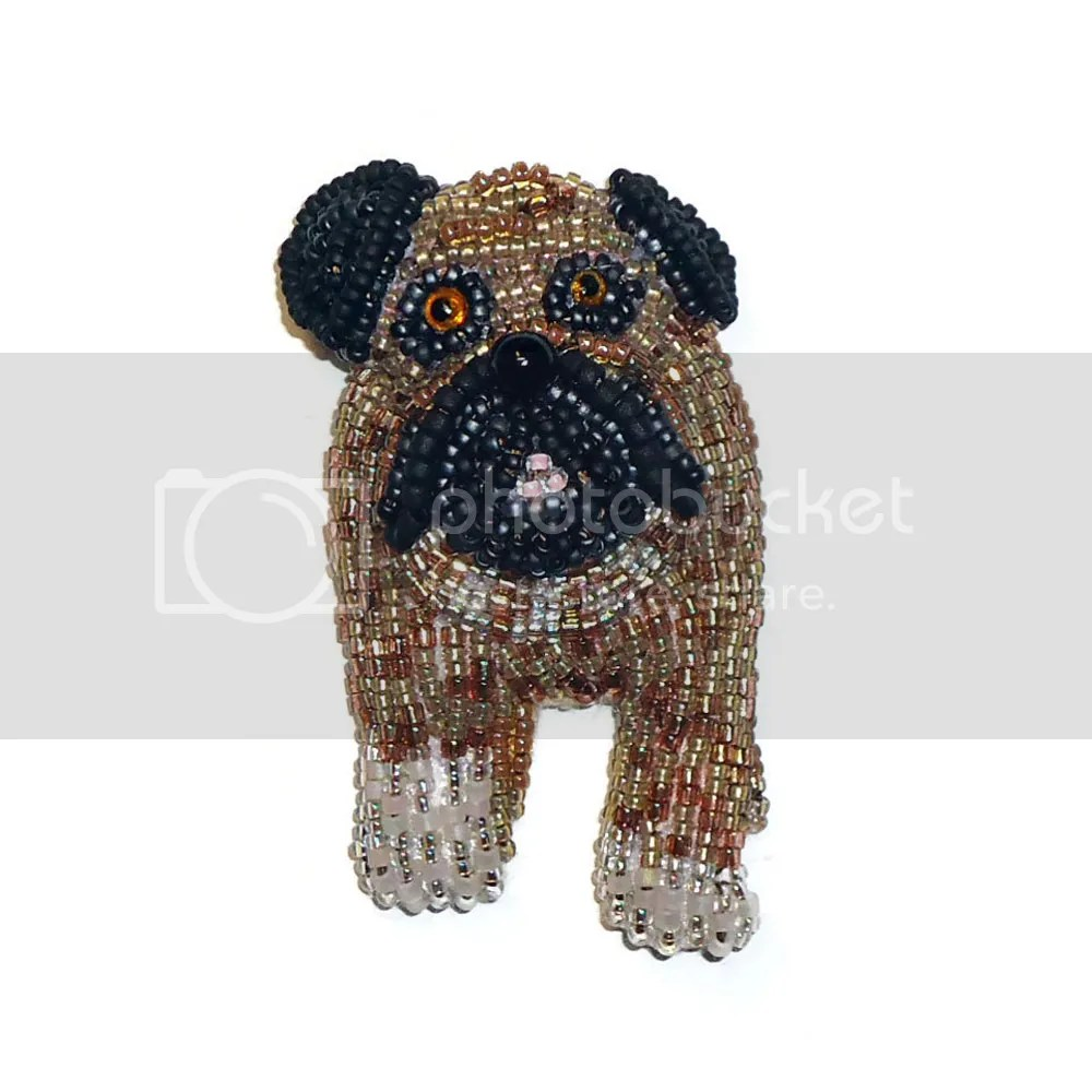 Beaded English Bulldog pin pendant necklace Bead embroidery beadwork Etsy amazon handmade custom dog jewelry pets