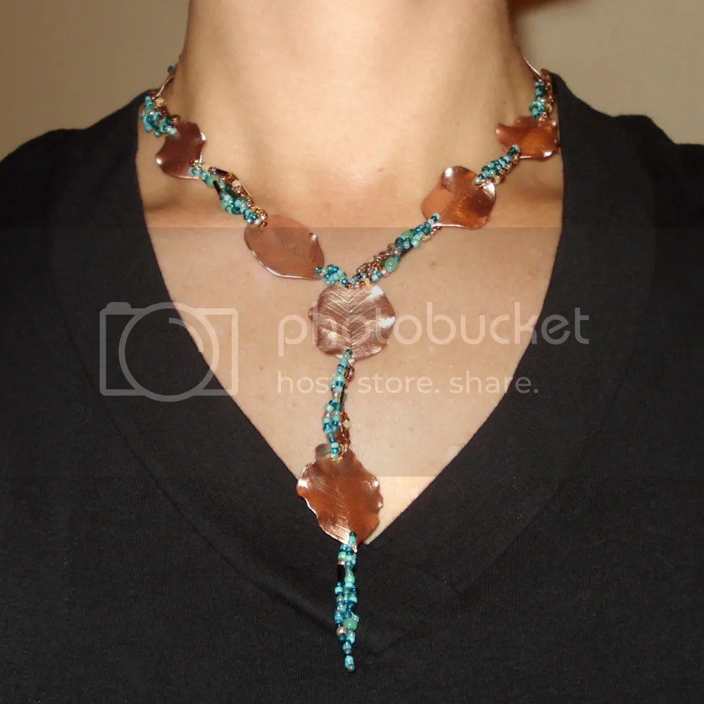 falling leaves colors of autumn artbeads.com beaded necklace peyote thelonebeader copper