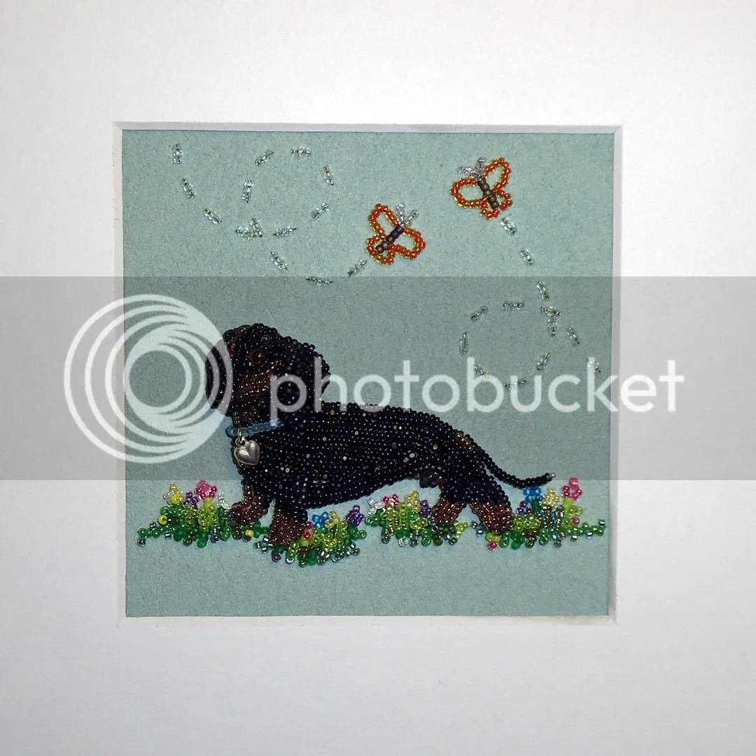 Doxie Dachshund Beaded Pet Portrait Shadowbox Frame Beadwork Bead Embroidery Bead Art the Lone Beader