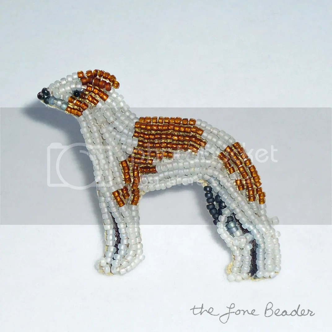 beaded brown white greyhound racing dog pin etsy bead embroidery beadwork gift