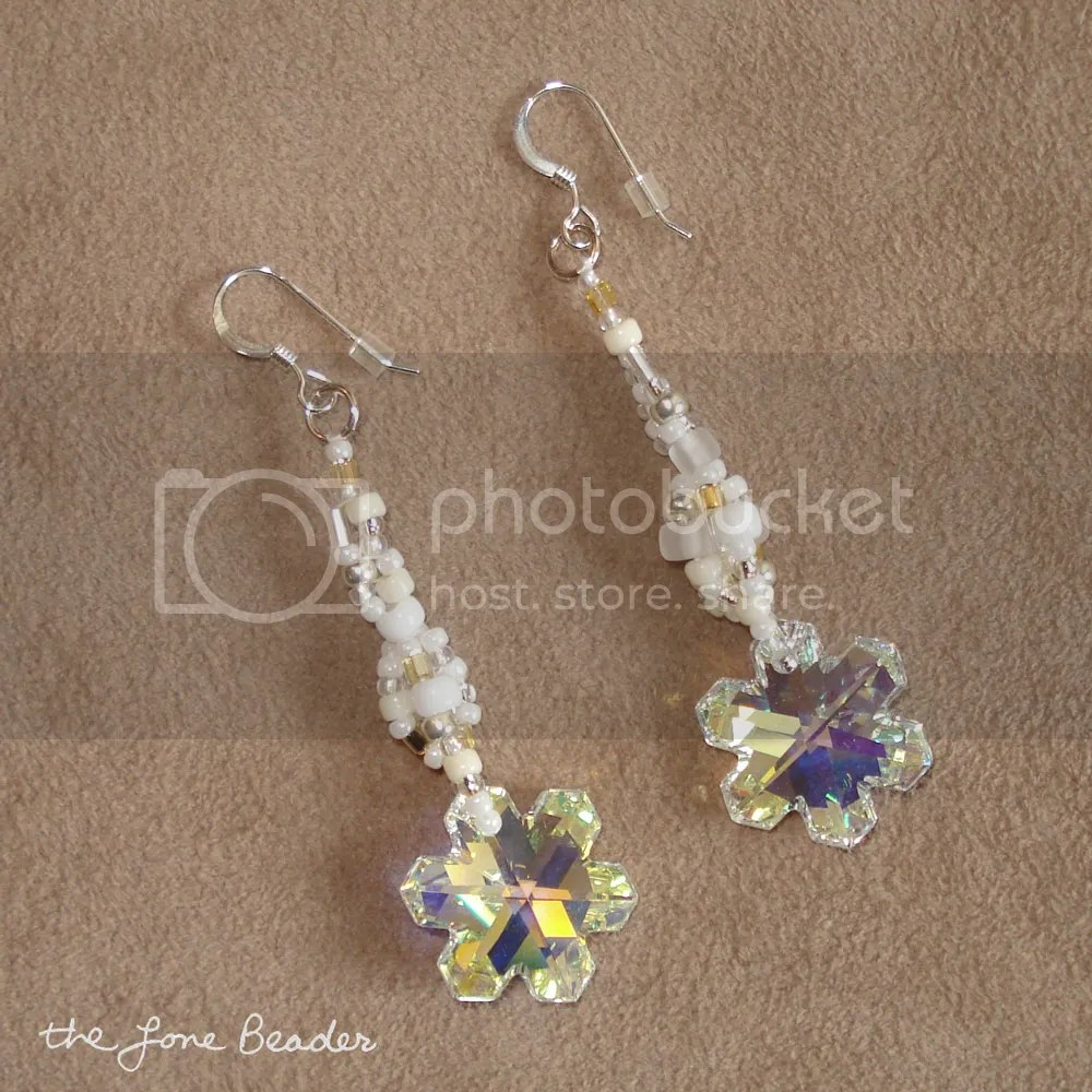 winter enchantment swarovski snowflake freeform peyote beaded earrings
