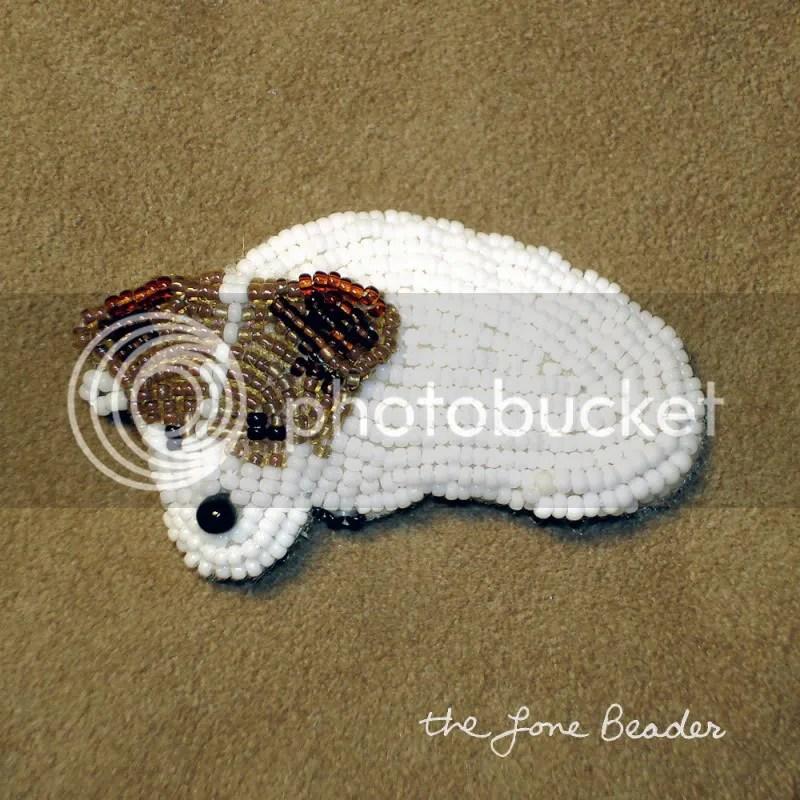 beaded Jack Russell Terrier pin pendant hair barrette beadwork bead embroidery artist etsy the lone beader
