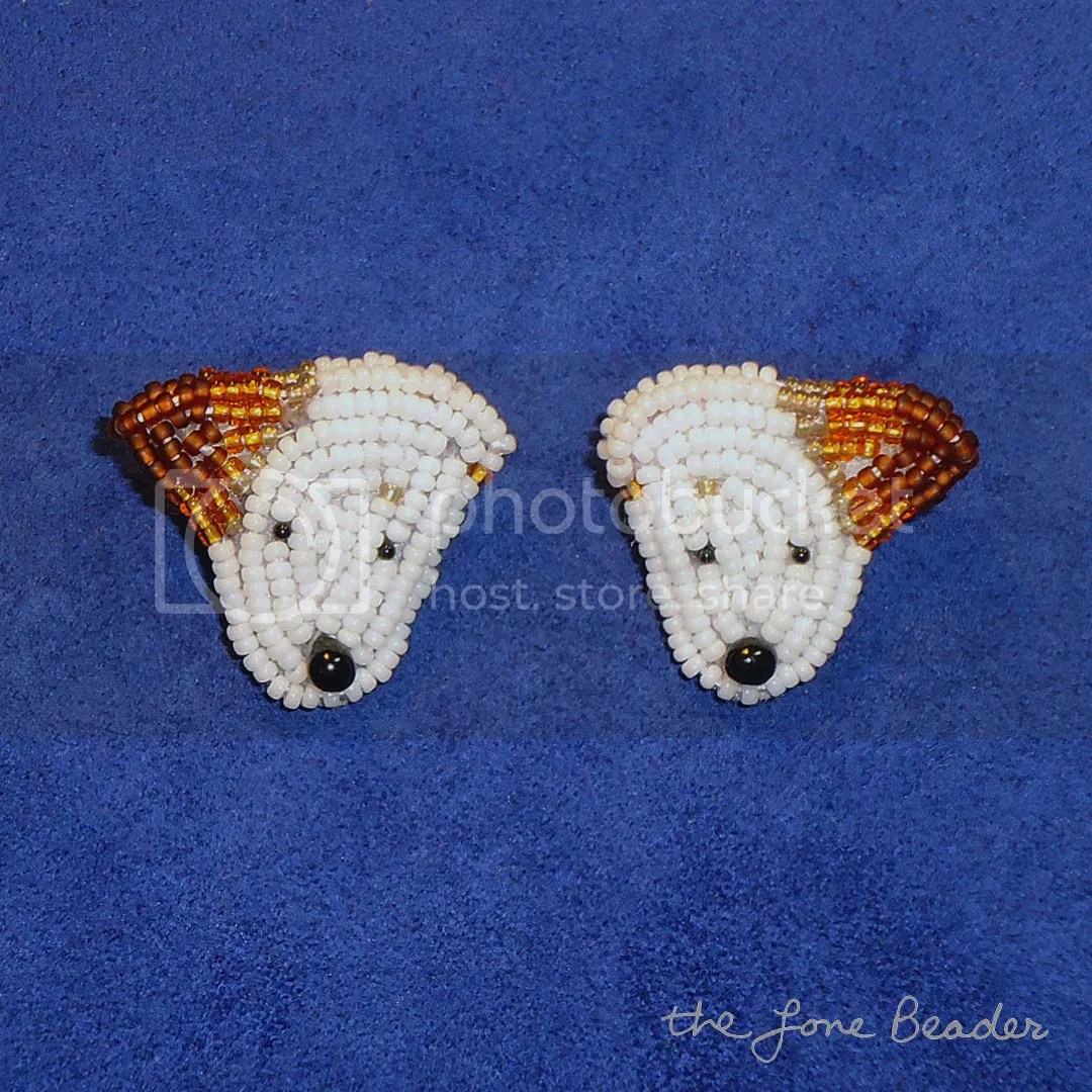 Beaded Jack Russell Terrier sterling silver earrings etsy beadwork beading beads