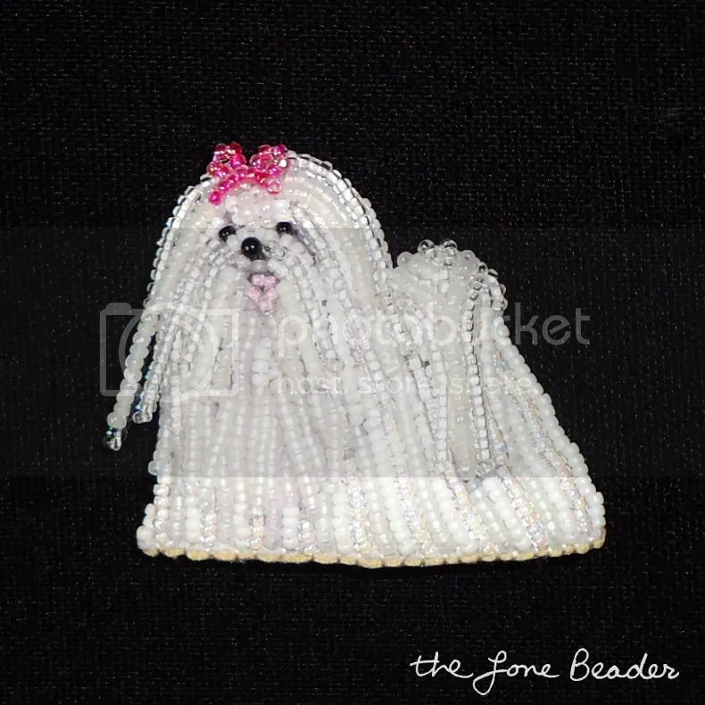 bead embroidery dog jewelry Maltese pin pendant etsy beadwork beading akc family dog