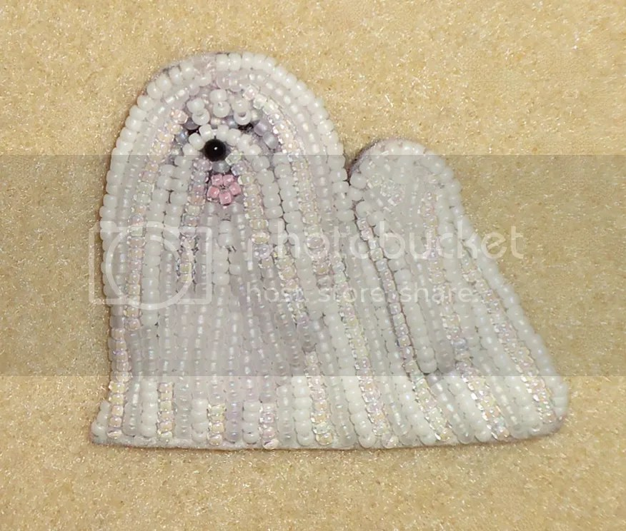 bead embroidery Maltese dog pin pendant beadwork beading etsy dog jewelry
