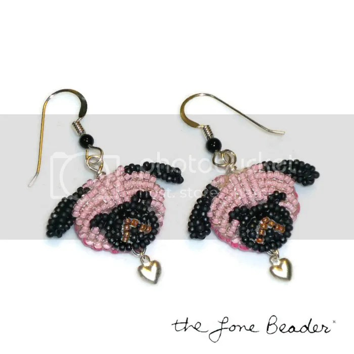 Pink beaded Pug Love sterling silver heart earrings etsy beadwork jewelry