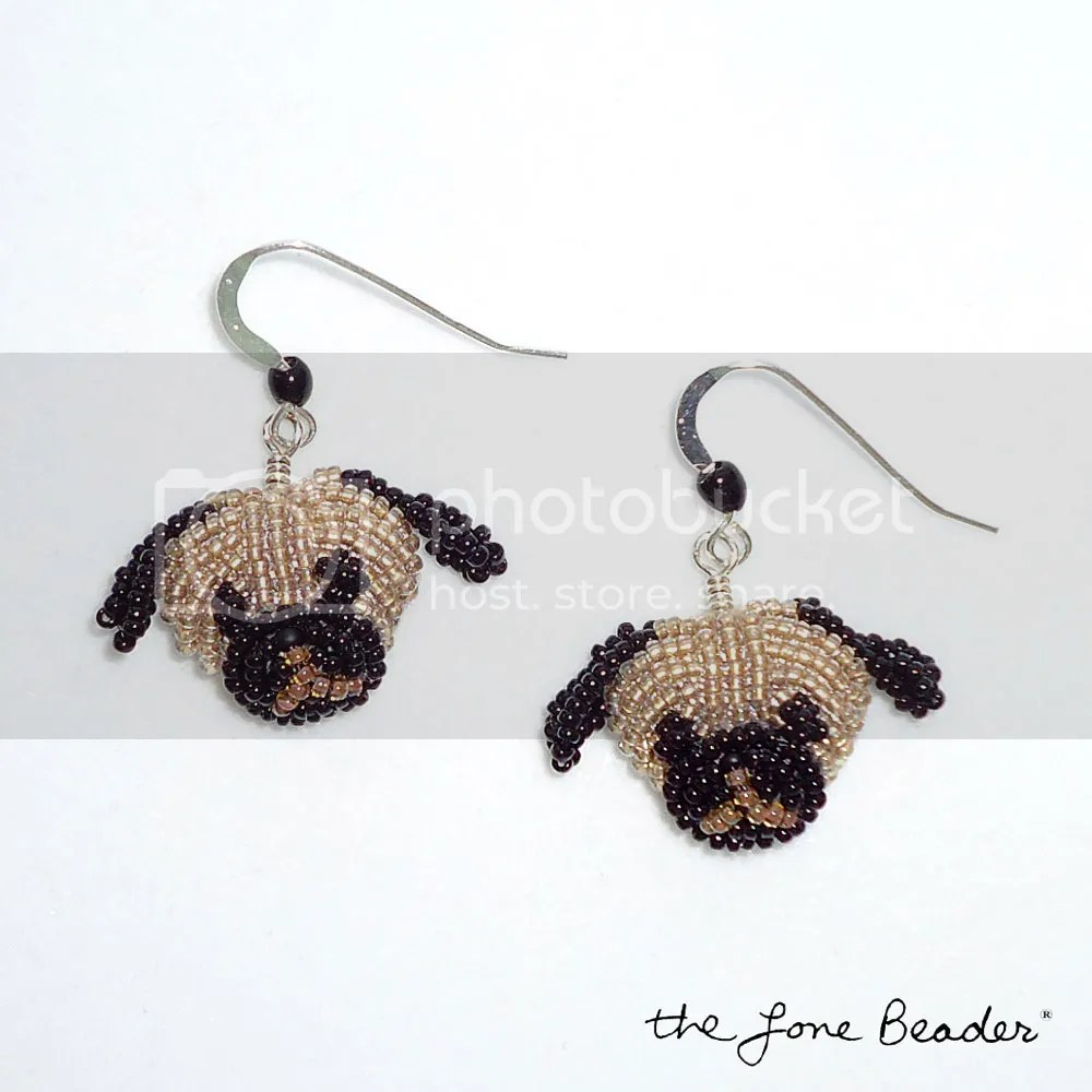 Beaded Pug dog jewelry earrings etsy beadwork bead embroidery beads
