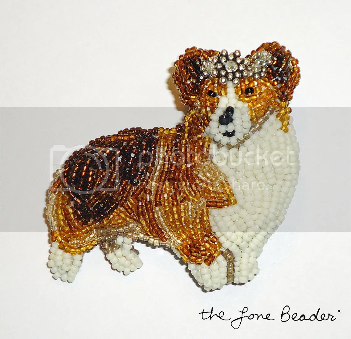 bead embroidery queen elizabeths diamond jubilee etsy beadwork custom welsh corgi dog jewelry