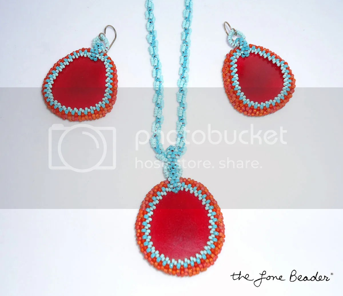 Tagua potato chip beads necklace earrings set turquoise red etsy bead embroidery