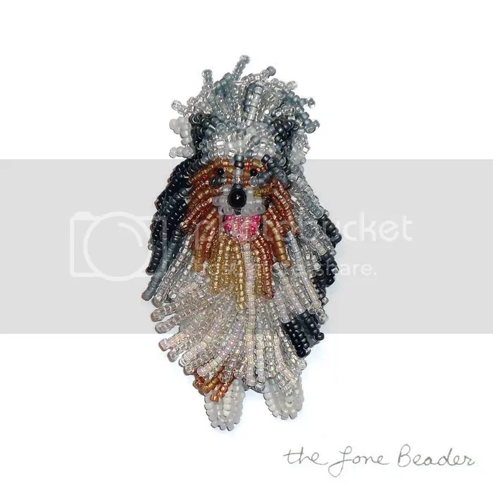 custom beaded Rough Collie pin pendant bead embroidery beadwork etsy dog jewelry