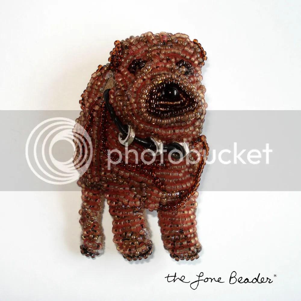 beaded shar pei pin pendant bead embroidery beadwork seed beads