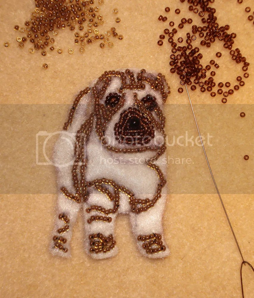 beaded shar pei dog pin pendant etsy bead embroidery beadwork
