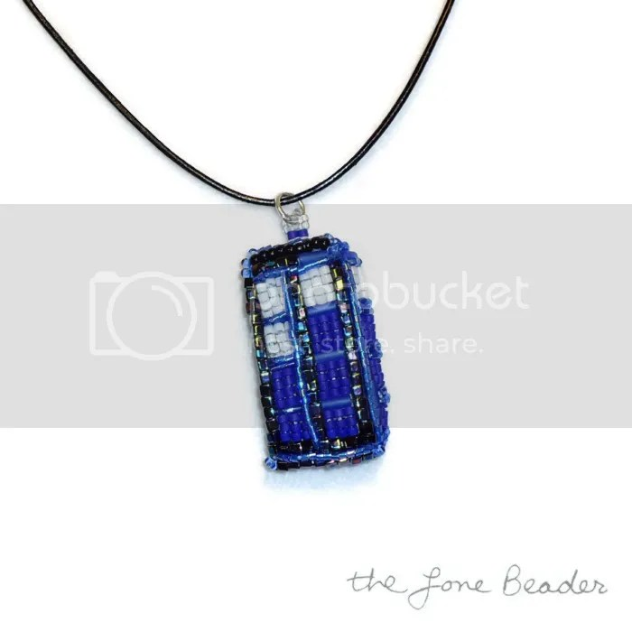 Beaded Tardis Dr. Who pendant earrings bead embroidery etsy art jewelry for sale