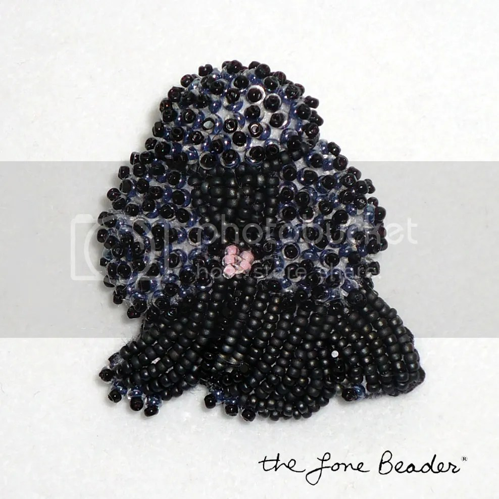 Black beaded poodle pin etsy bead embroidery beadwork seed beads