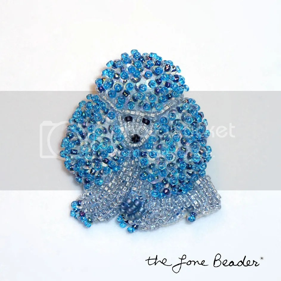 beaded blue poodle etsy beadwork bead embroidery dog art pin pendant