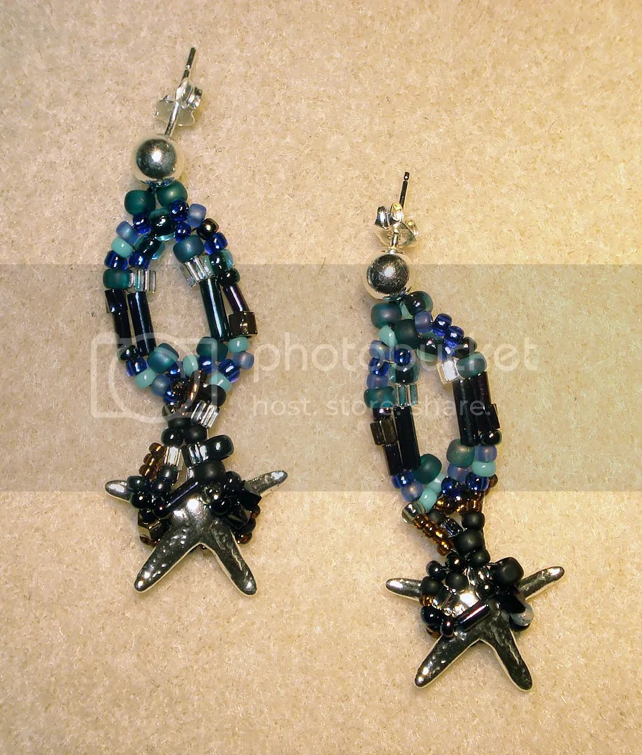 beaded beadwork BP oil spill starfish earrings trapped freeform peyote etsy thelonebeader artbeads.com