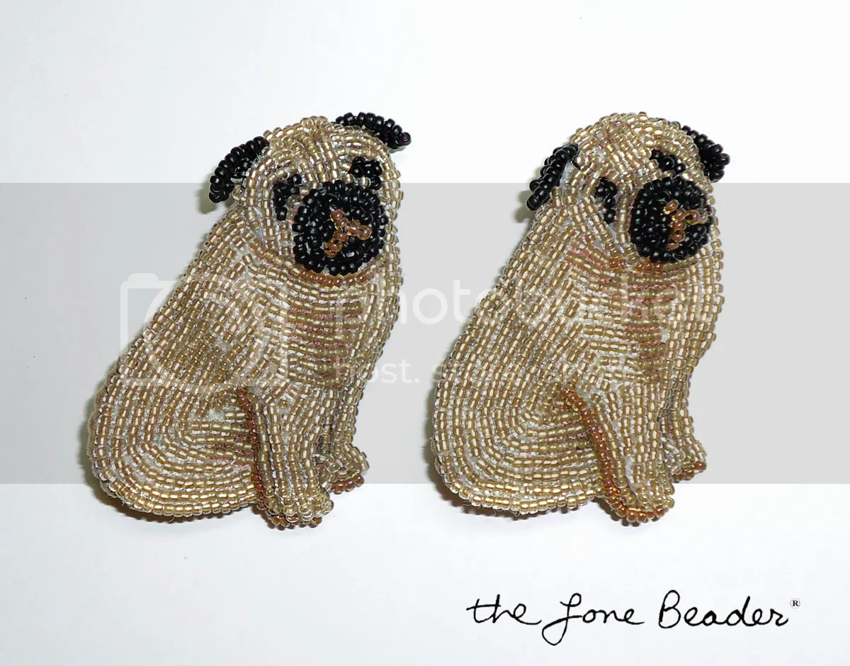 beaded pug bead embroidery pin pendant etsy custom order beadwork jewelry