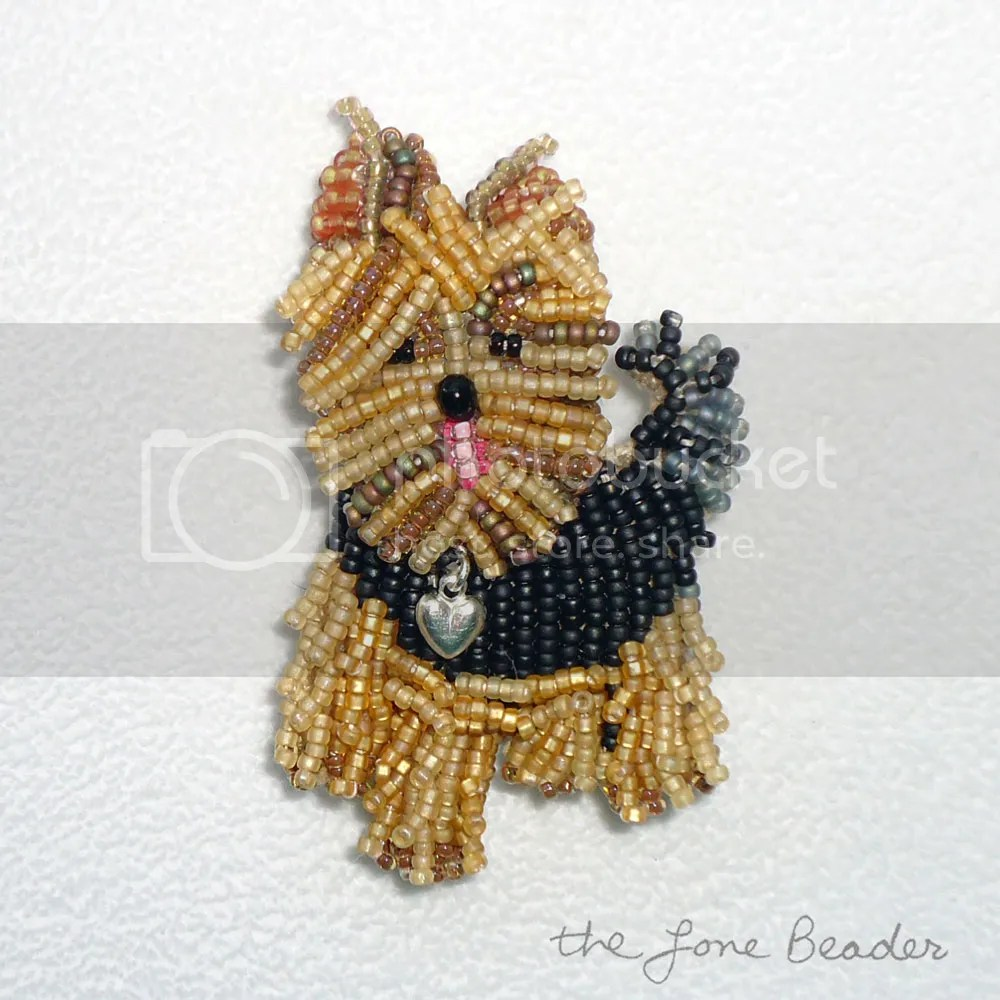 bead embroidery Yorkie Love Yorkshire Terrier pin pendant etsy beadwork dog jewelry