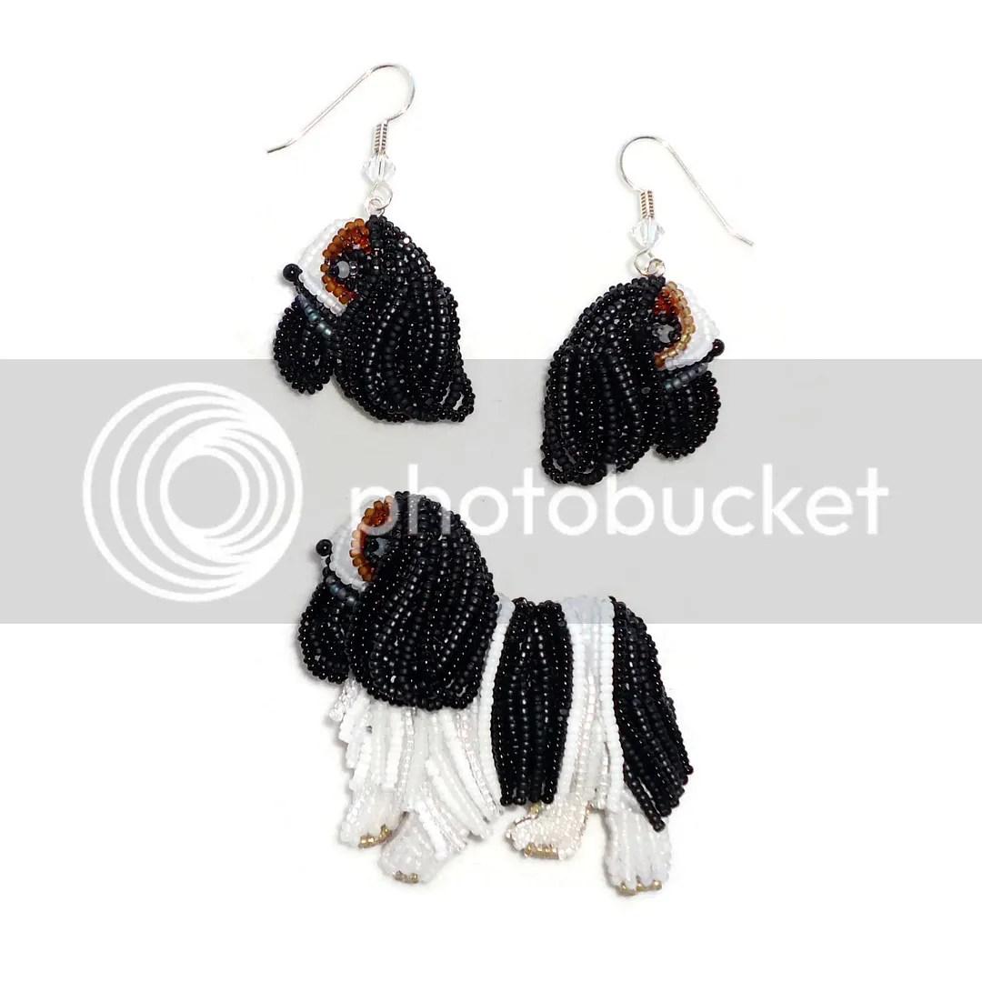 beaded Cavalier King Charles Spaniel rescue bead embroidery dog jewelry set etsy Amazon Handmade