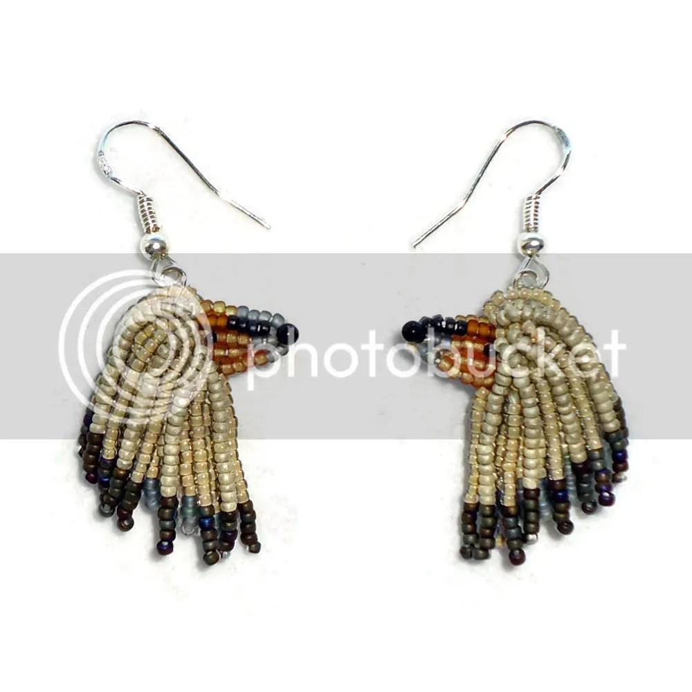 beaded Afghan Hound sterling silver earrings bead embroidery dog jewelry Etsy Amazon Handmade AKC Family Dog Custom Art