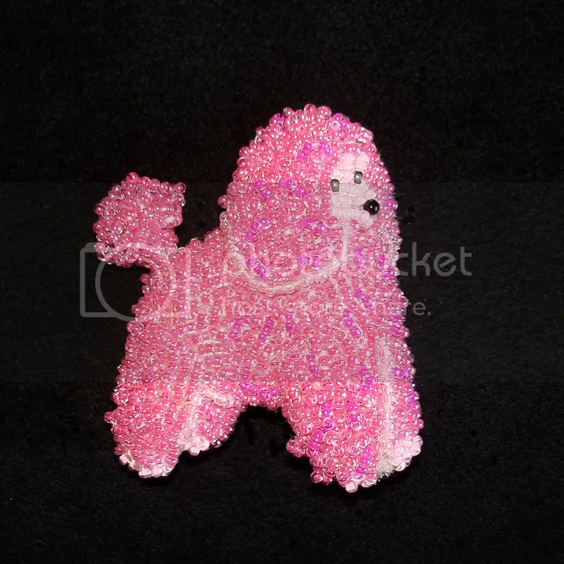 Beaded pink standard poodle Paris Hilton Sharon Osbourne Hollywood pop art bead embroidery Valentine's Day