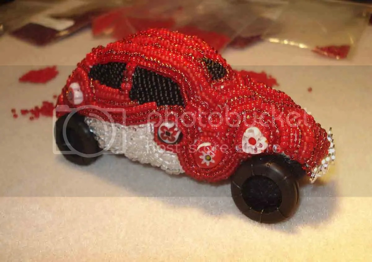 beaded love Lub Bug VW Bug Beetle red milliefiori bead embroidery beaded beadwork car etsy Valentine's Day