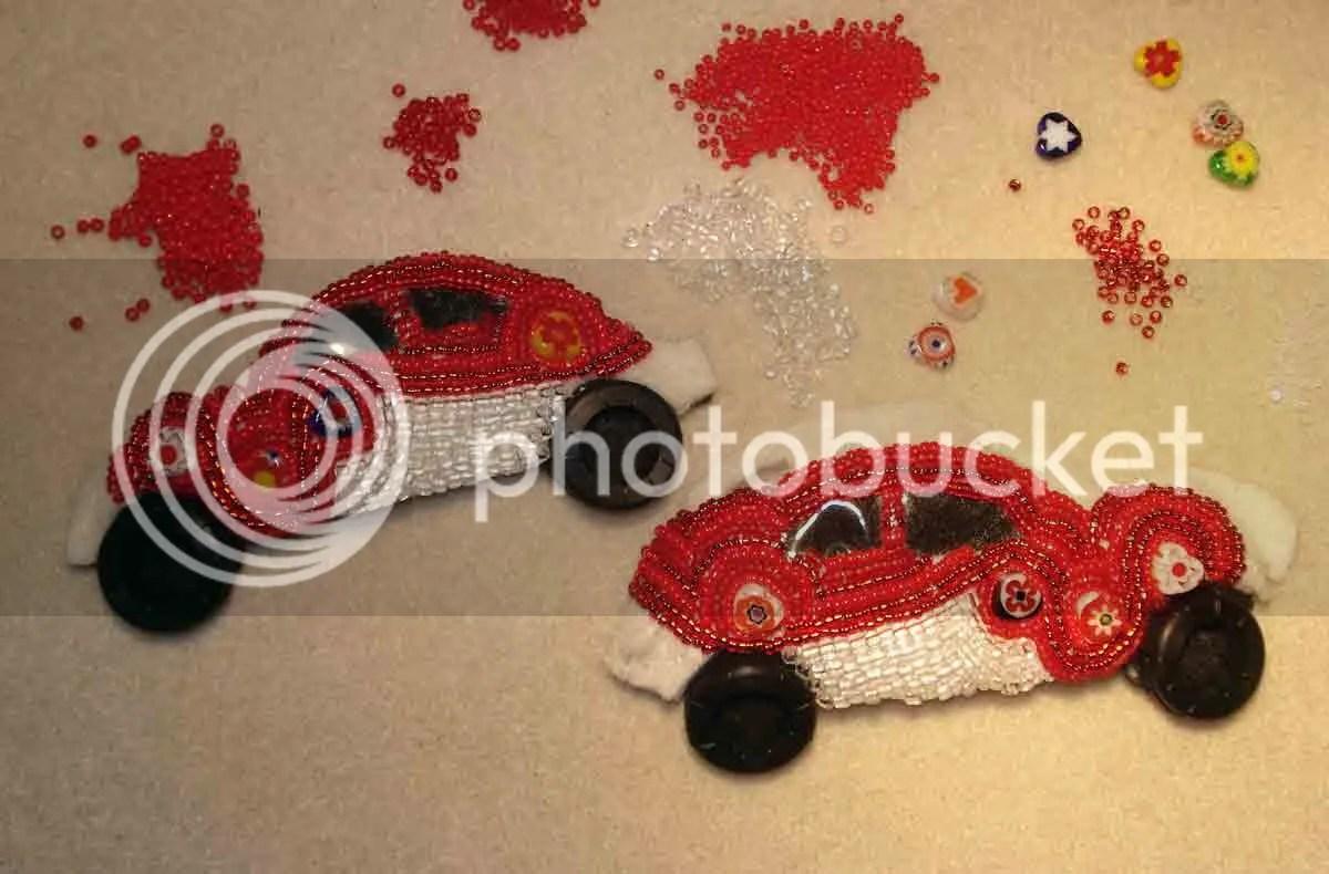 beaded love Lub Bug VW Bug Beetle red milliefiori bead embroidery beaded beadwork car etsy Valentine's Day