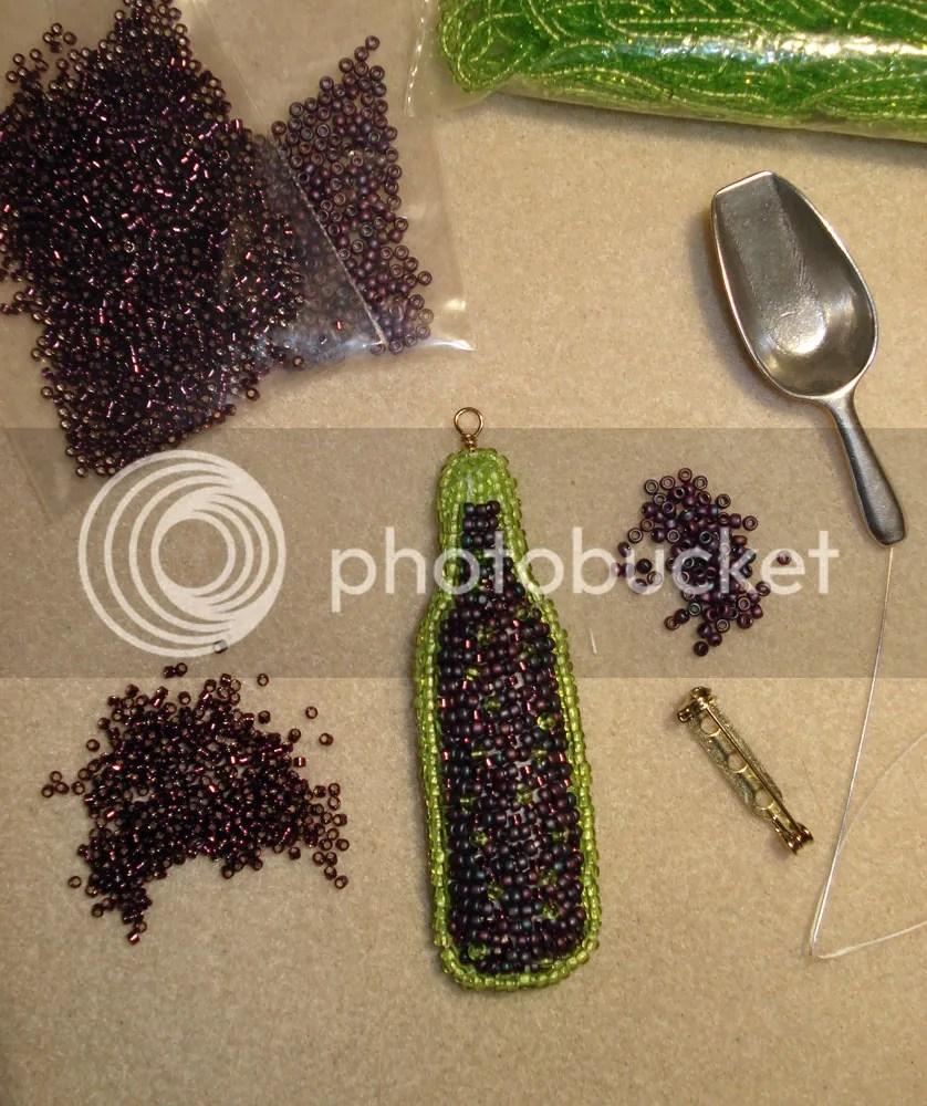 beaded beadwork Veneto Bordeaux wine bottle pin pendant seed bead embroidery etsy