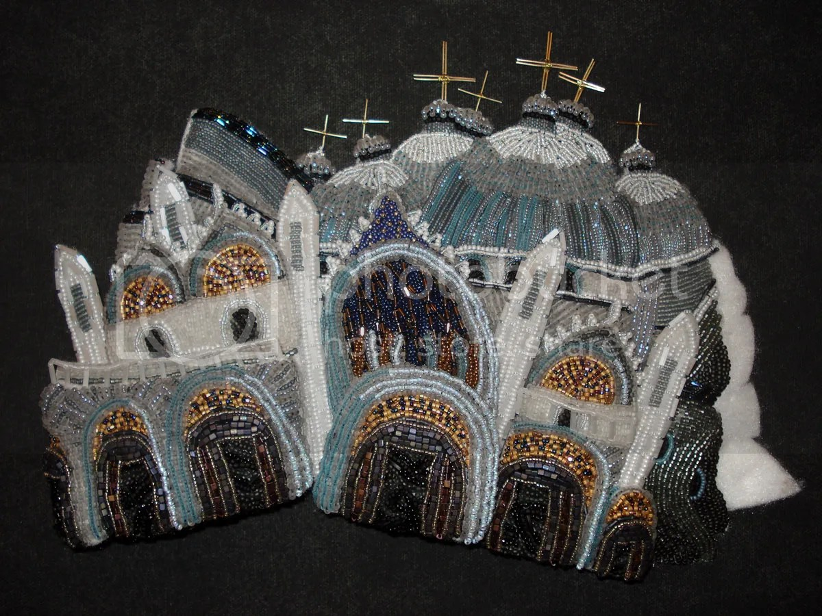 beaded beadwork Save Venice Italy St. Marks Square campanile erosion fiber art Basilica architecture bead embroidery blog relief painting