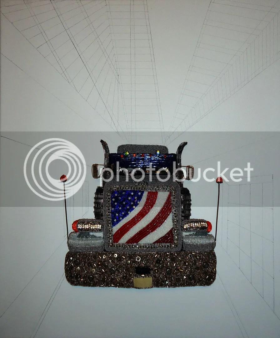 beaded peterbilt semi truck art sketch on canvas etsy bead embroidery painting