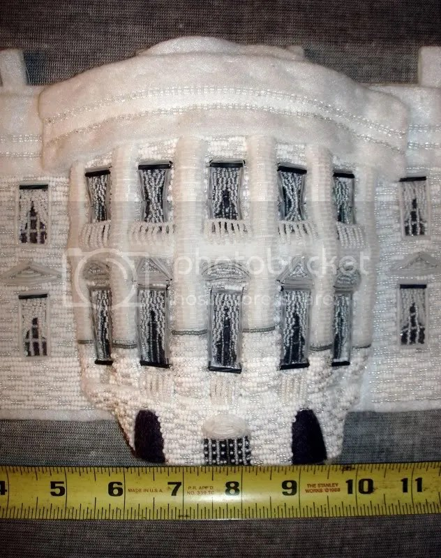 beaded White House President Barack Obama change bead embroidery pop art beadwork beading blog