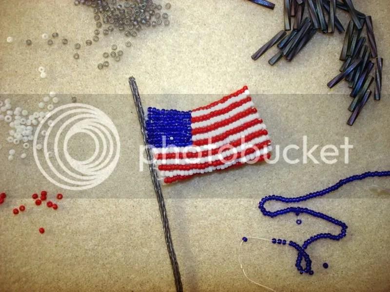 beaded White House flag President Barack Obama change Memorial Day pop art beadwork beading blog red white blue