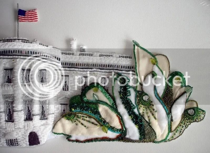 beaded White House east wing green trees Barack Obama pop art beadwork bead embroidery blog