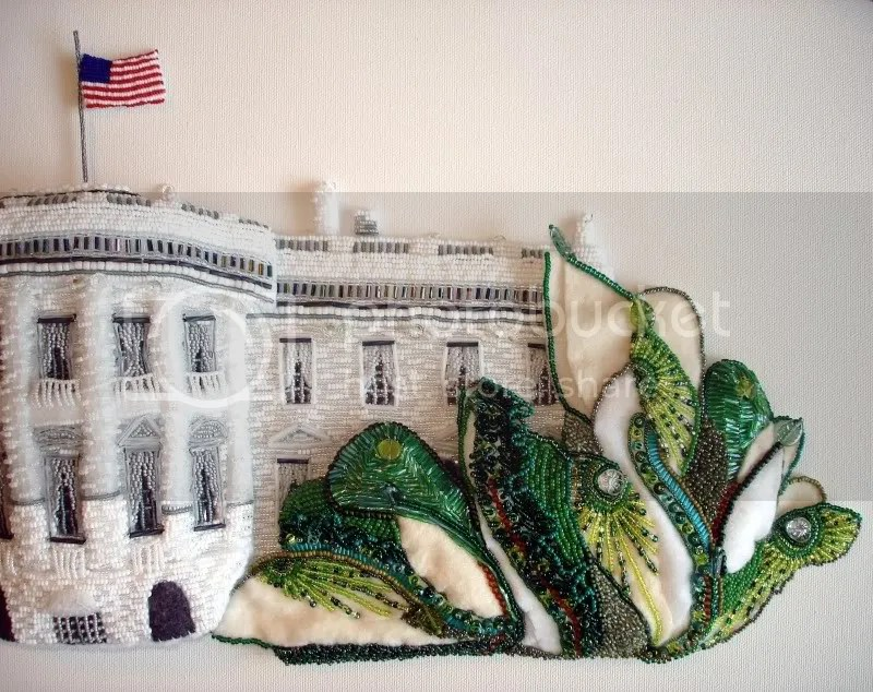 beaded White House trees oval canvas pop art painting barack obama lone beader boston bead artist
