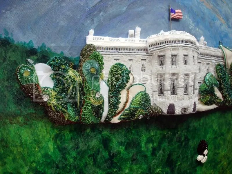 beaded White House green trees Barack Obama pop art relief acrylics painting  blog collage