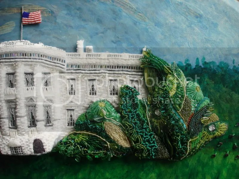 bead painting Barrack Obama Bo White House pop art bead embroidery blog relief art beadwork on canvas