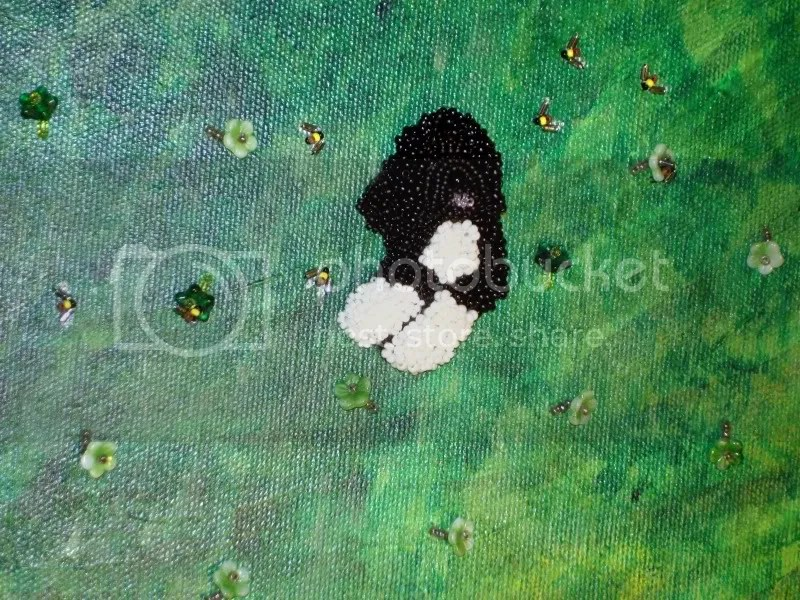 Beaded bumblebee honey bee portuguese water dog Bo Obama pop art bead embroidery mixed media