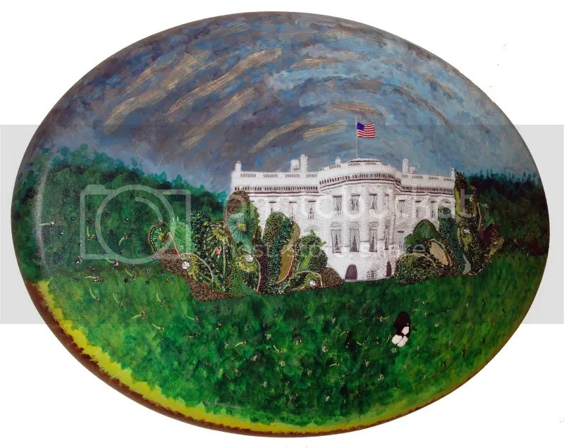 Beaded White House pop art bead painting Barack Obama Bo Portuguese water dog beadwork bead embroidery blog