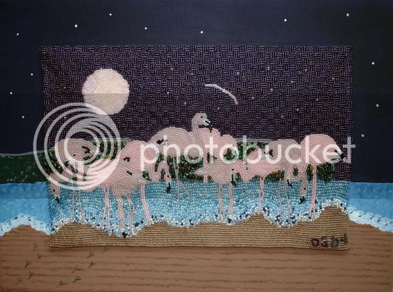beaded painting Flamingo Moon The Lone Beader bead embroidery acrylics Duxbury Art Association By The Sea Shore art exhibition
