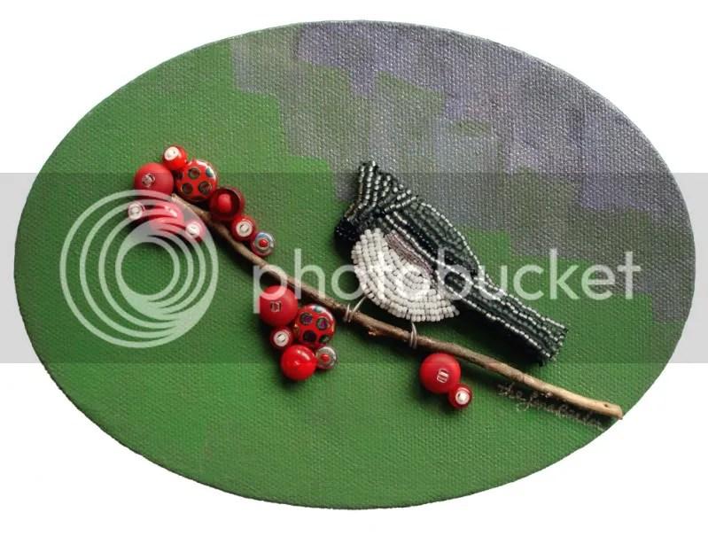 beaded bird art bead embroidery artist beadwork tufted titmouse pin painting