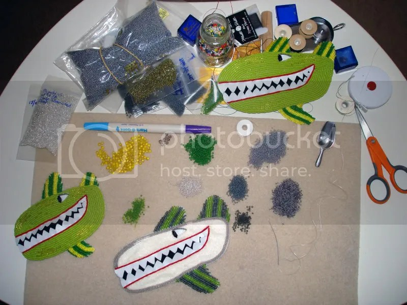 Beaded Beatles Yellow Submarine bead embroidery green gray whales beadwork beading work table Boston pop artist Lone Beader
